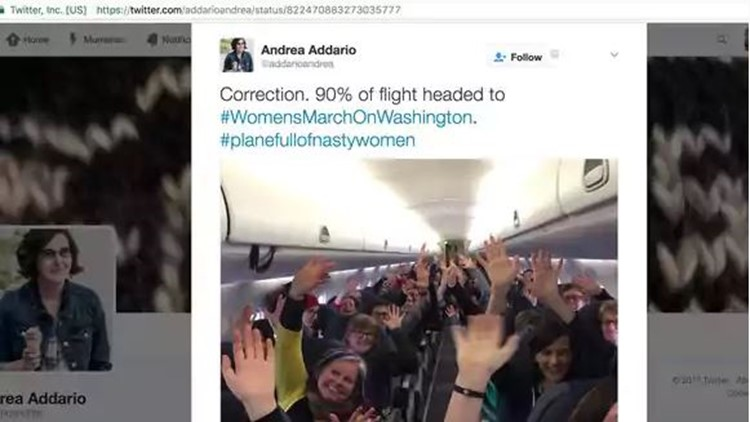 Planes full of women head to D.C. for Women's March
