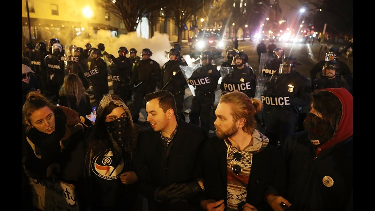 Vandalism, fires, & dozens of arrests in DC inauguration protests