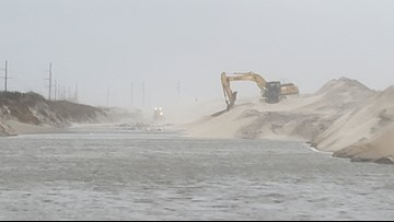 Wind, sand make roads impassable in Outer Banks
