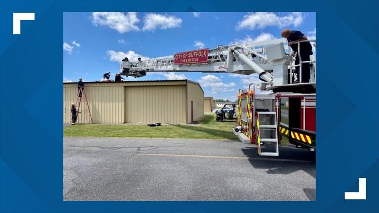 Skydiver seriously injured after landing on top of hangar in Virginia