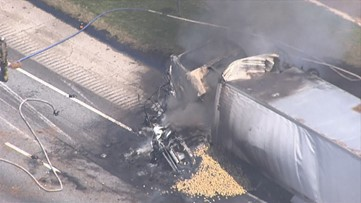 4 killed after tractor trailer rams pickup truck into back of another big rig