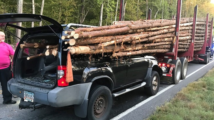 Georgia driver survives harrowing crash as huge logs pierce car