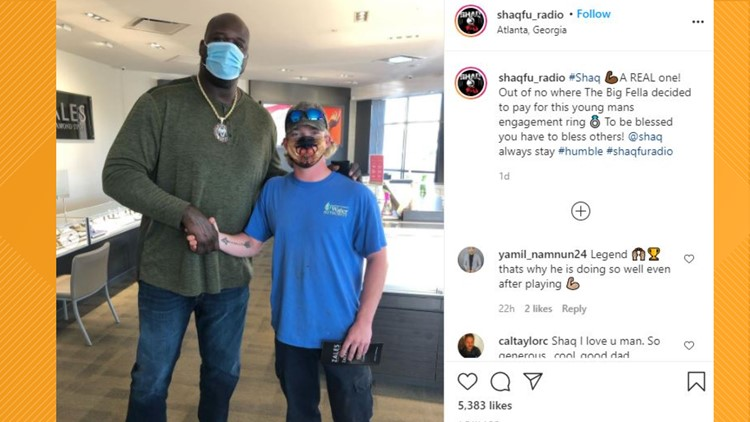 Shaq pays for man's engagement ring in random act of kindness