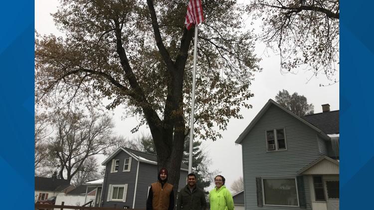 Flagpole installed